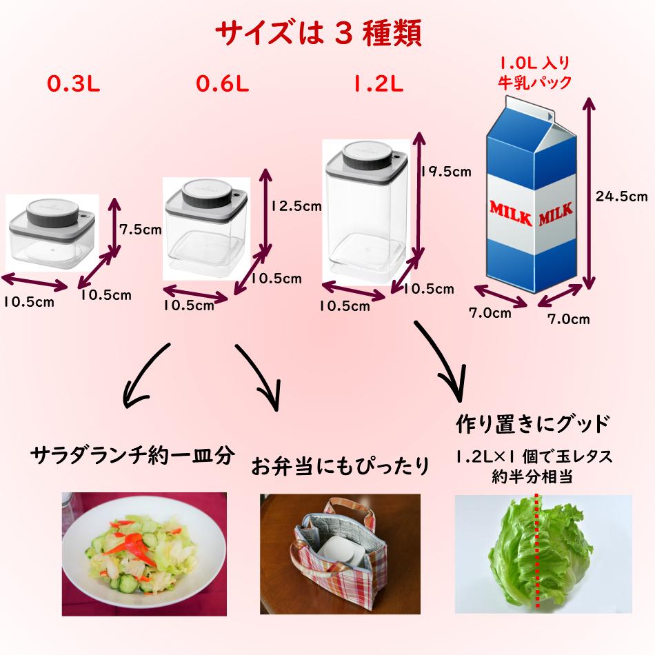 アンコムンの真空保存容器ターンシール(ターンエヌシール)のサイズは3種類
