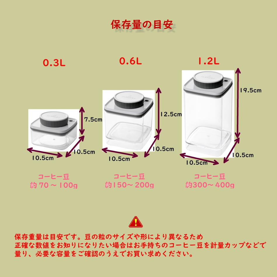 真空保存容器ターンシール(ターンエヌシール)でコーヒー豆を真空保存_保存重量目安