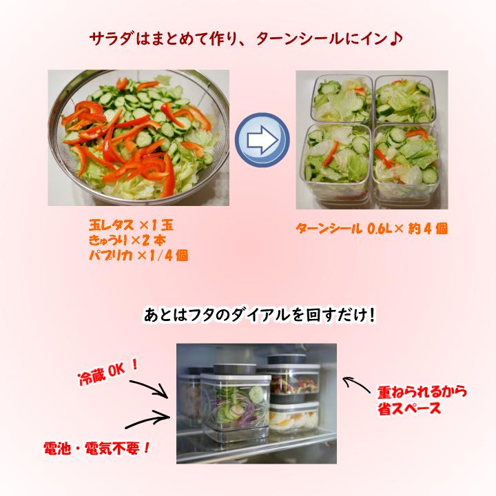真空保存容器ターンシールでサラダを作り置き