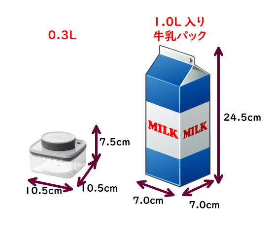 真空保存容器ターンシール(真空保存容器ターンエヌシール)0.3Lの寸法