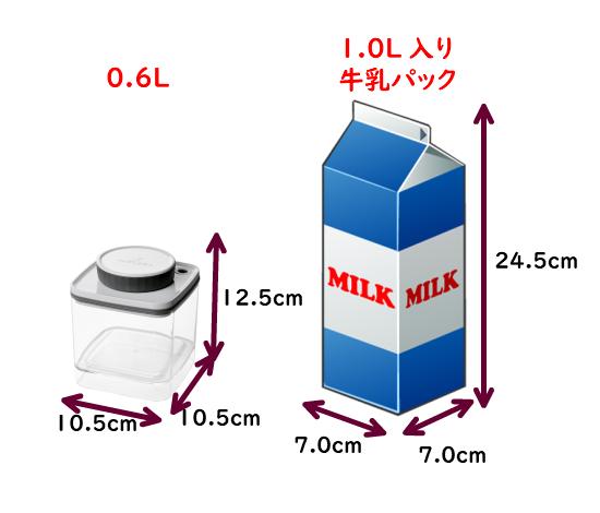 真空保存容器ターンシール(真空保存容器ターンエヌシール)0.6Lの寸法