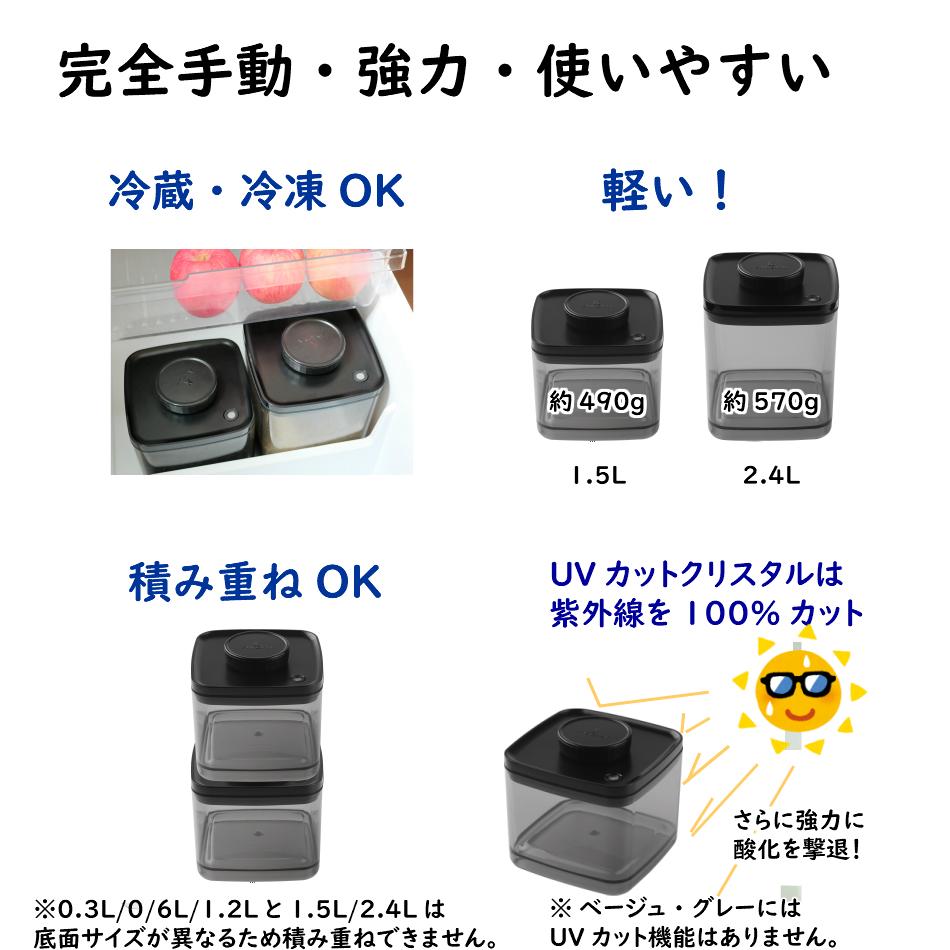 真空保存容器ターンシール(ターンエヌシール)Turn-N-Sealは完全手動&UVカット